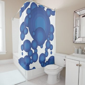 The Blue 70's year styling circle Shower Curtain