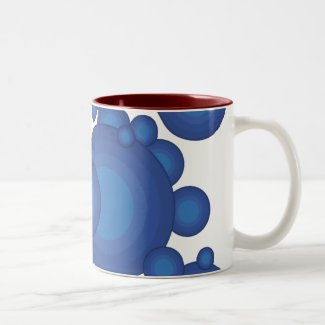 The Blue 70's year styling circle Two-Tone Coffee Mug