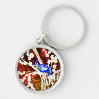 the blue bird and cherry blossom tree keychains