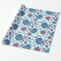 The Blue Bird in the Garden Wrapping Paper