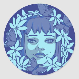 The Blue Butterflies Classic Round Sticker