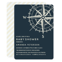 The Blue Compass   Nautical Baby Shower Invitation