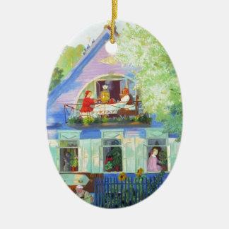 The Blue Cottage Ceramic Ornament