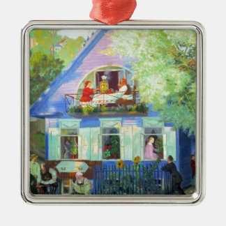 The Blue Cottage Metal Ornament