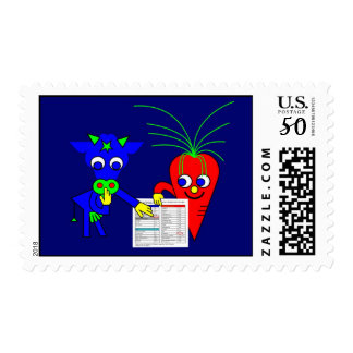 The Blue Cow and The Red Carrot Postage