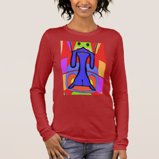 The Blue Dachshund Cubism Abstract Print Long Sleeve T-Shirt