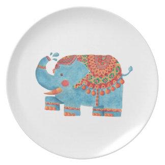 The Blue Elephant Melamine Plate