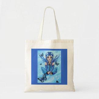 """The Blue Fairy"" fantasy big eyed art TOTE BAG"