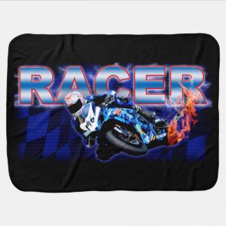 The blue flamed racer receiving blanket