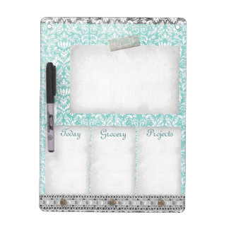 The Blue Green Damask Aged Pattern Lace To Do List Dry Erase Whiteboards