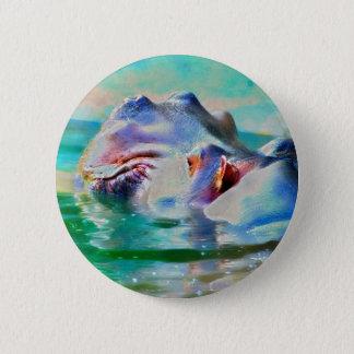 The blue Hippo Pinback Button