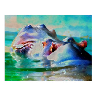 The blue Hippo Post Card
