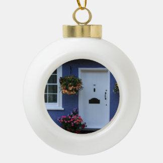 The Blue House, Saffron Walden, Essex, UK Ceramic Ball Christmas Ornament