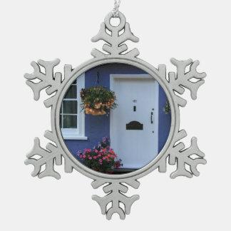 The Blue House, Saffron Walden, Essex, UK Snowflake Pewter Christmas Ornament