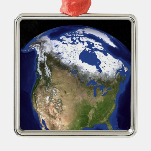 The Blue Marble Next Generation Earth 5 Square Metal Christmas Ornament