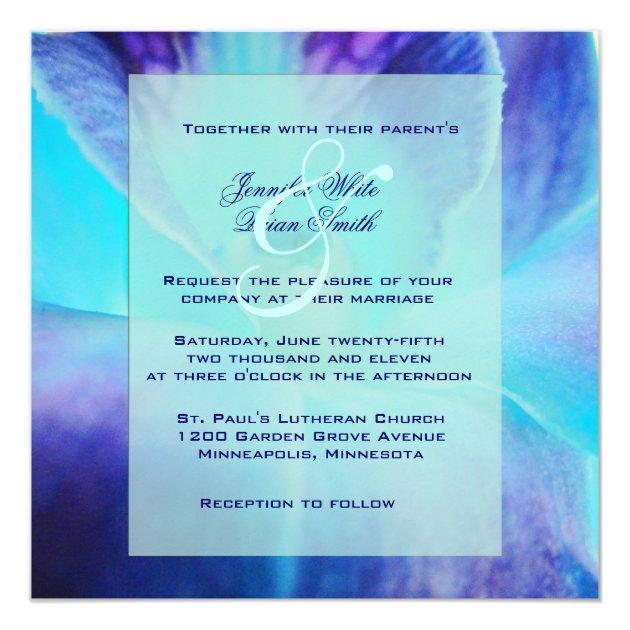 the blue orchid wedding invitation zazzle