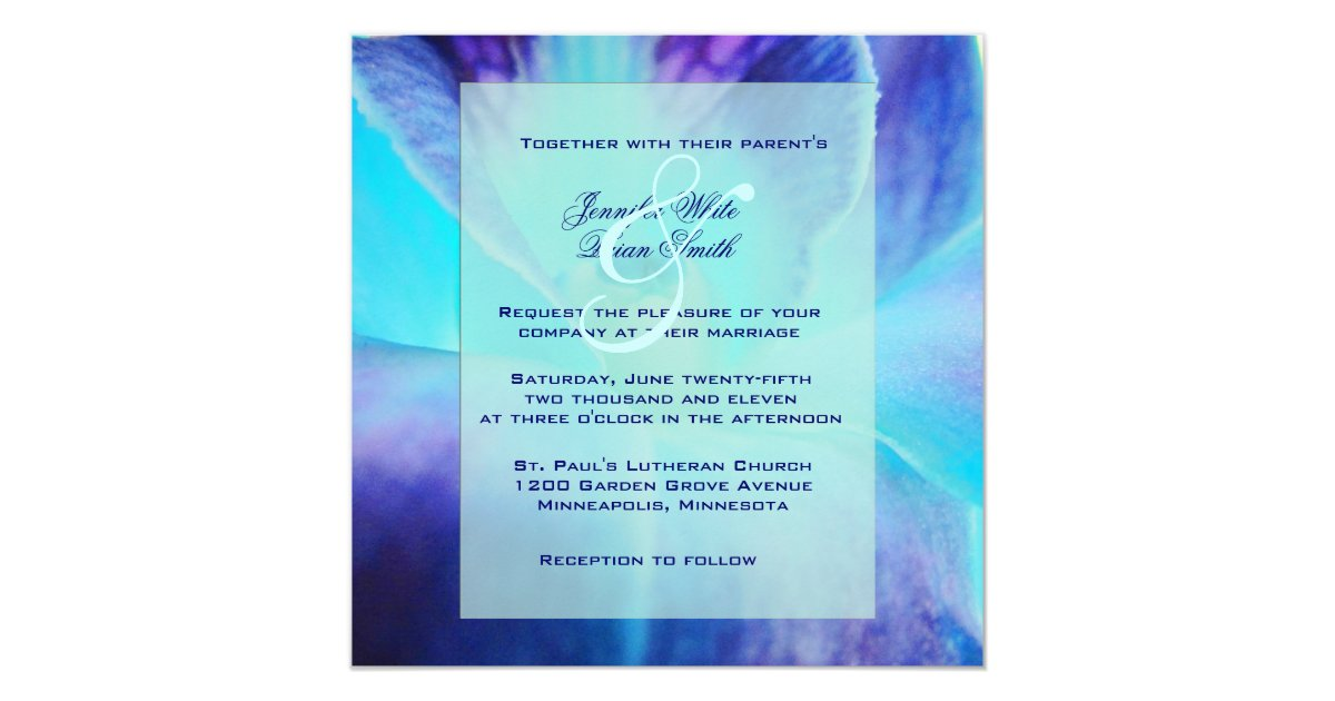 Blue Orchid Wedding Invitations: The Blue Orchid Wedding Invitation