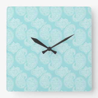 The Blue Paisley Square Wall Clock
