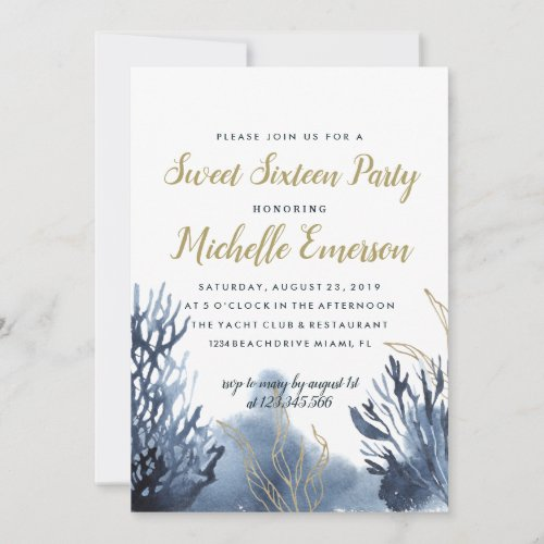 The blue Reef  Nautical SWEET SIXTEEN PARTY Invitation