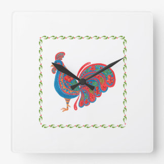 The Blue Rooster Square Wall Clock