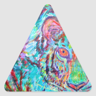 The Blue tiger Triangle Stickers