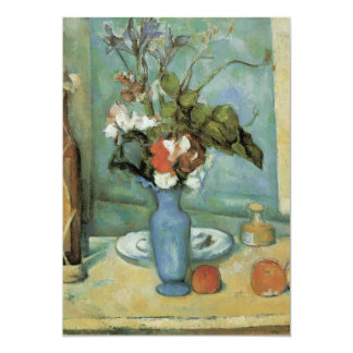 The Blue Vase (Flowers and Fruit) by Paul Cezanne Card