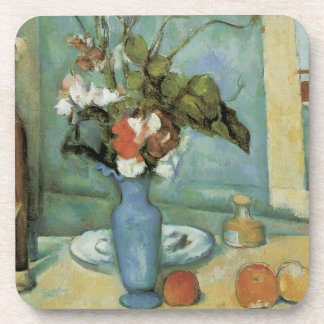 The Blue Vase (Flowers and Fruit) by Paul Cezanne Drink Coaster