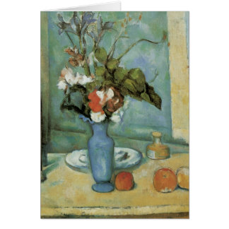 The Blue Vase (Flowers and Fruit) by Paul Cezanne Greeting Card