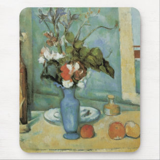 The Blue Vase (Flowers and Fruit) by Paul Cezanne Mouse Pad