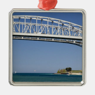 The Blue Water Bridge is a twin-span bridge 2 Square Metal Christmas Ornament