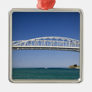 The Blue Water Bridge is a twin-span bridge Square Metal Christmas Ornament