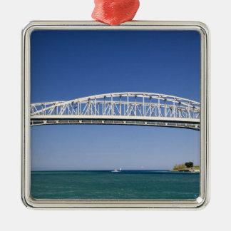 The Blue Water Bridge is a twin-span bridge Square Metal Christmas Ornament