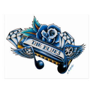 The Blues Harmonica Flash Art Postcard