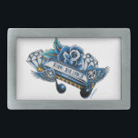 "The Blues Harmonica Flash Art Rectangular Belt Buckle<br><div class=""desc"">If you love the blues you most likely love the sound of a harmonica. The blues hap is a big part of the blues. This is a tattoo flash design featuring a blues harp, diamonds, crazy skull notes, and a rose all done in blue and drawn in a neo-traditional tattoo...</div>"