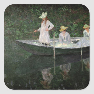 The Boat at Giverny, c.1887 Square Sticker