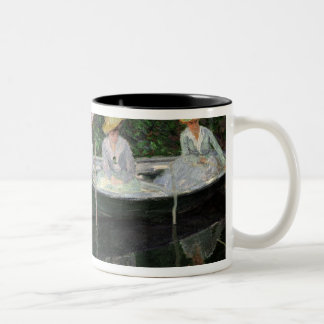 The Boat at Giverny, c.1887 Two-Tone Coffee Mug