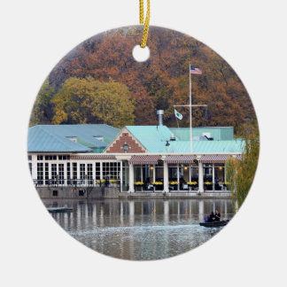 The Boathouse in the Park, Fall Photo Christmas Tree Ornaments