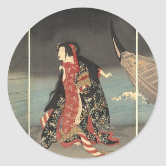 The Boatman, circa 1898. Japanese Painting Classic Round Sticker