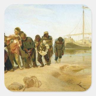 The Boatmen on the Volga, 1870-73 Square Sticker