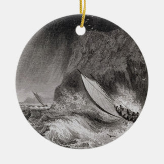 The boats off Walden Island in a snow storm, Augus Ceramic Ornament