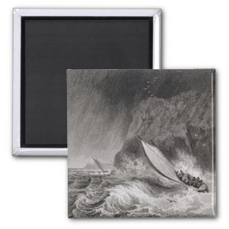 The boats off Walden Island in a snow storm, Augus Fridge Magnets