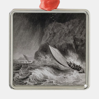 The boats off Walden Island in a snow storm, Augus Metal Ornament
