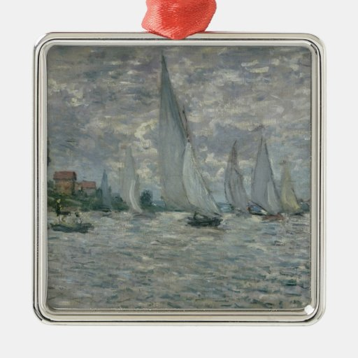 The Boats, or Regatta at Argenteuil, c.1874 Square Metal Christmas Ornament