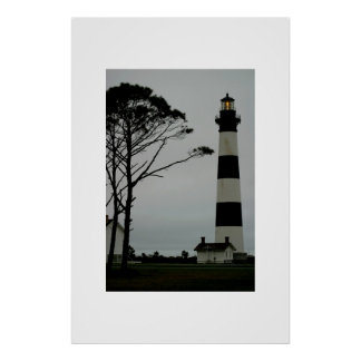 The Bodie Island Lighthouse at early evening Poster