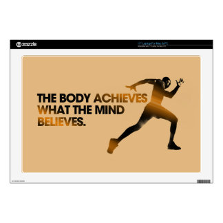 "The BODY Achieves what the MIND Believes Dark Gold 17"" Laptop Skins"
