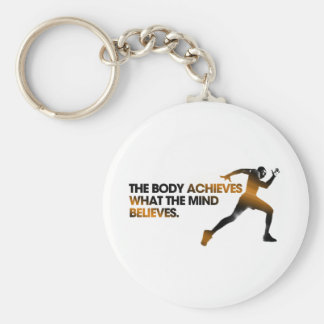 The BODY Achieves what the MIND Believes Gold Basic Round Button Keychain