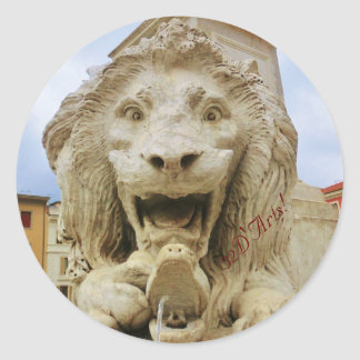 The Bold Lion of Massa, Round Sticker, Glossy Classic Round Sticker