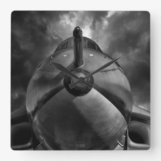 The Bomber BW Square Wall Clock