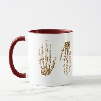 The bones of the human hand mug
