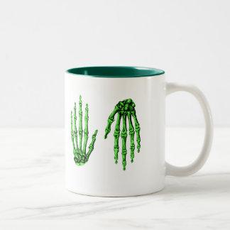 The bones of the human hand Two-Tone coffee mug